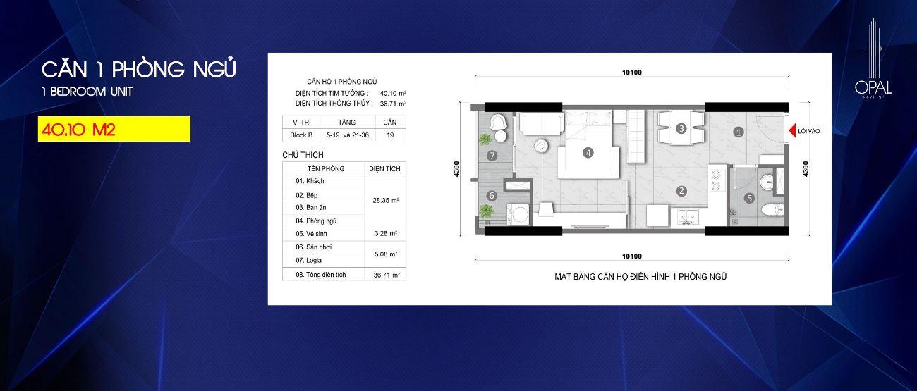 Thiết kế căn hộ 1PN Opal Skyline