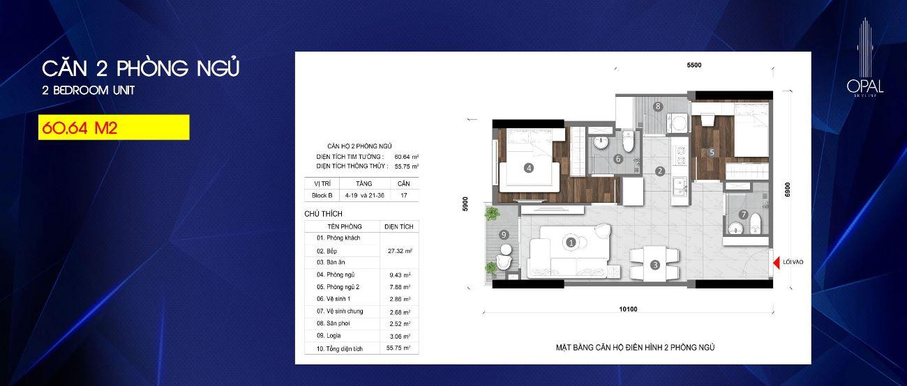 Thiết kế căn hộ 2PN Opal Skyline